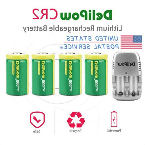 4 pack cr2 3v 800mah rechargeable lithium