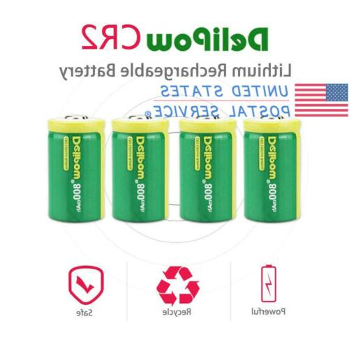 4Pcs CR2 Batteries 800mAh Rechargeable Lithium Battery For Golf Rangefinder