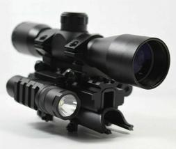 SKS 4x32 Rangefinder Scope with Red Laser, Flashlight and Tr